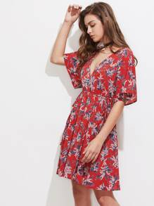 Double Plunge Neck High Waist Kimono Dress
