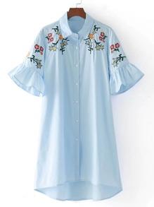 Bell Sleeve Ruffle High Low Dress