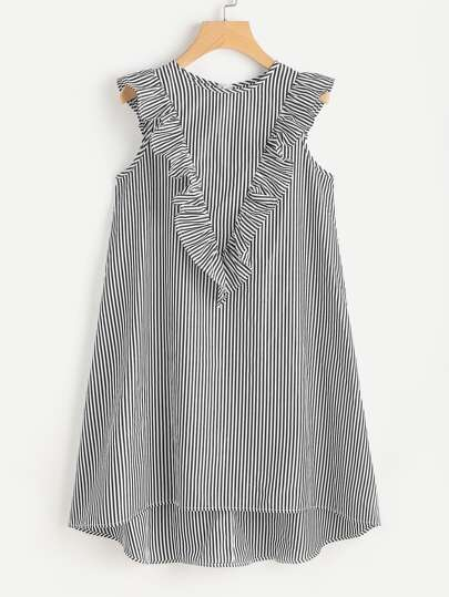 Zip Back Ruffle Yoke Striped Dress