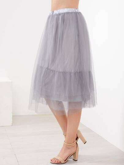 Elastic Waist Mesh Skirt