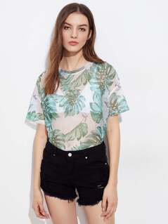 Drop Shoulder Foliage Print Fishnet Tee