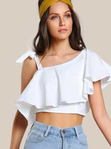 Tie Strap Ruffle Crop OFF WHITE