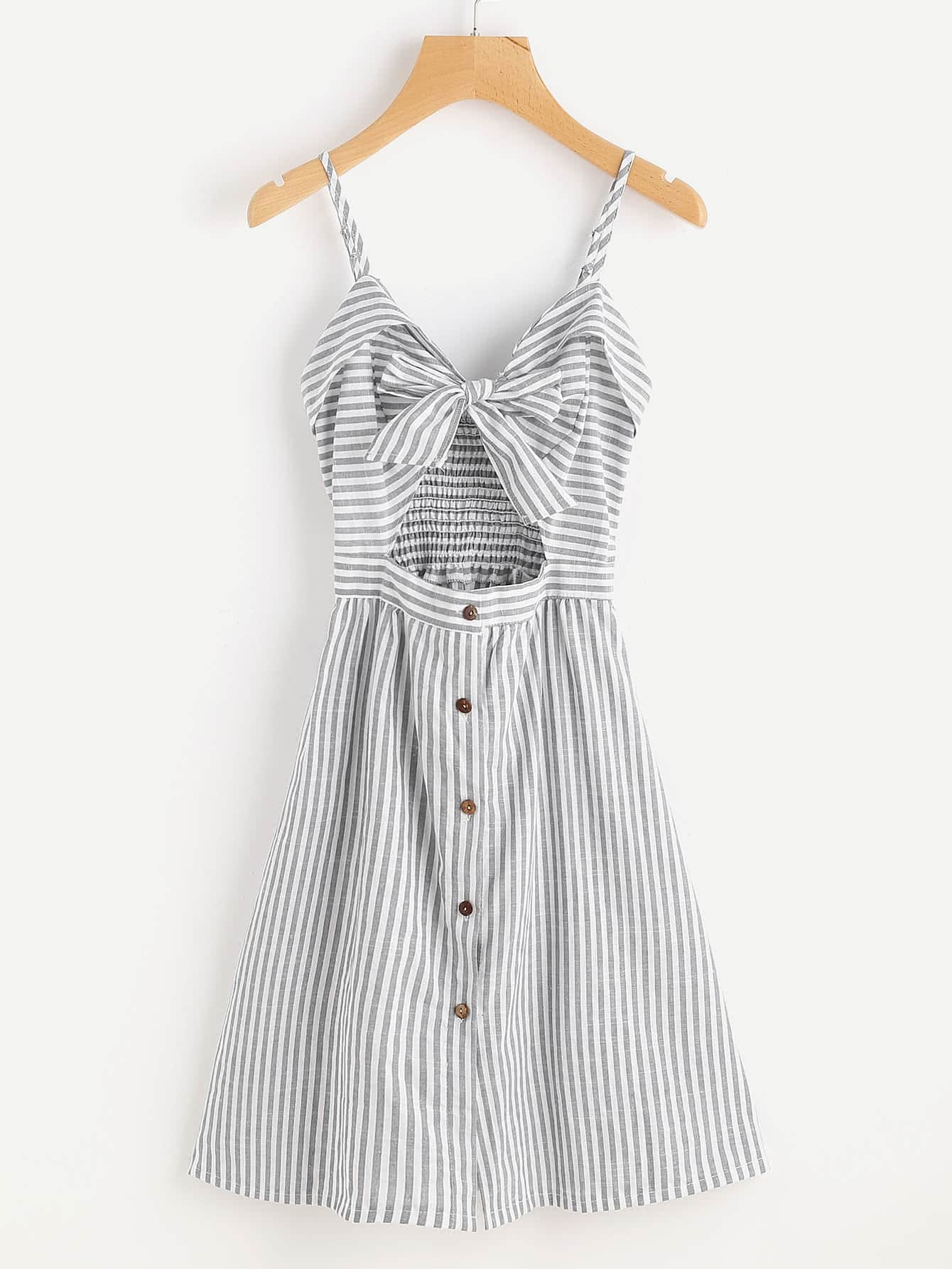 Stripe Cut Out Bow Front Foldover Cami Dress cut out front split backless dress