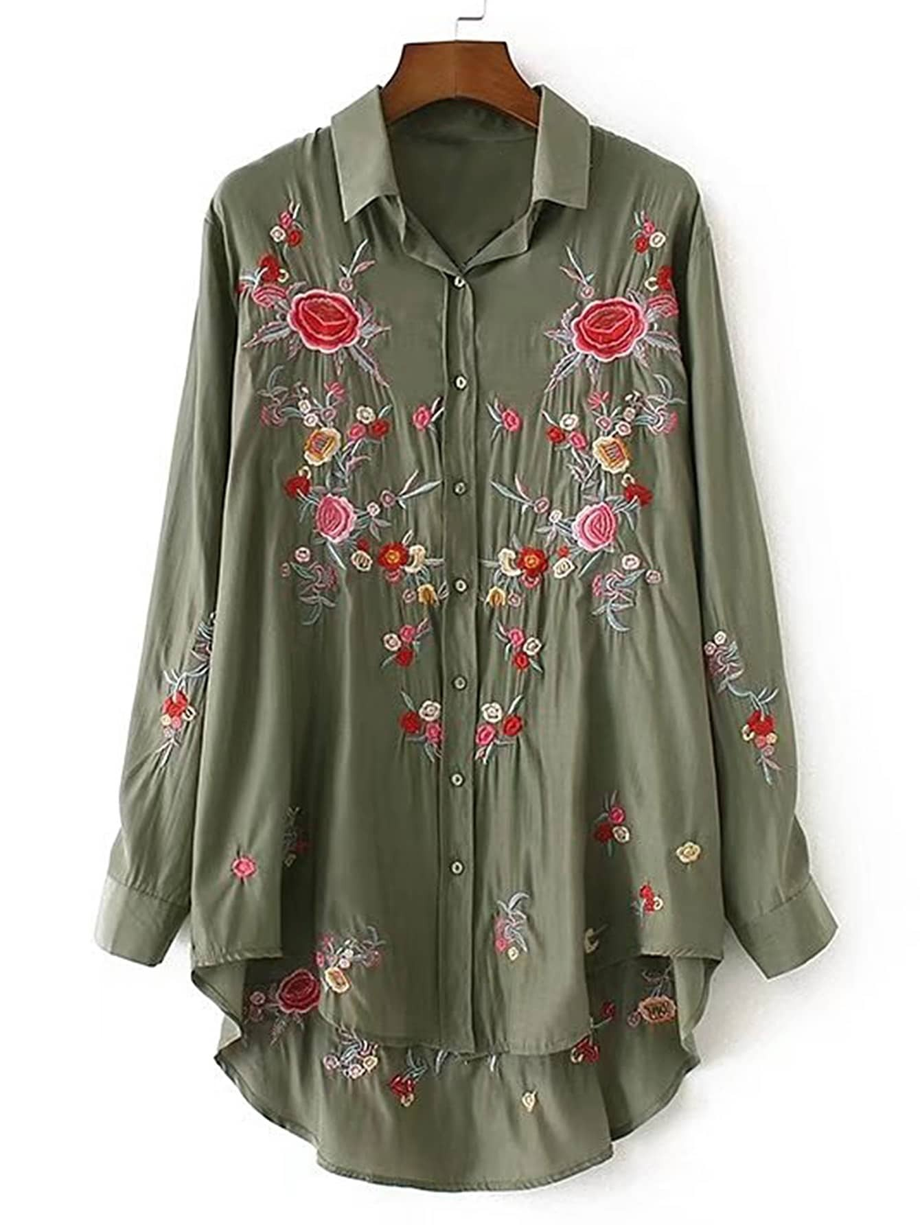 Embroidery High Low Shirt Dress