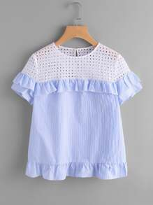 Contrast Eyelet Embroidered Yoke Frilled Top
