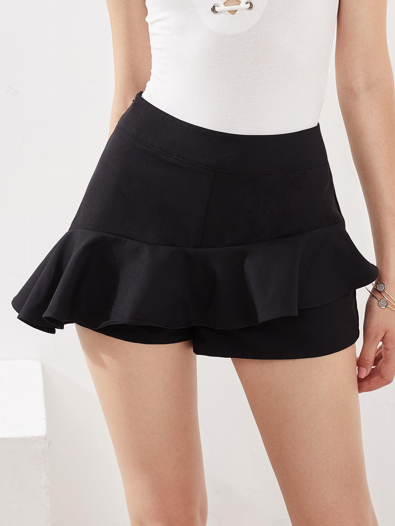 Zip Side Asymmetric Ruffle Skort shorts170606703