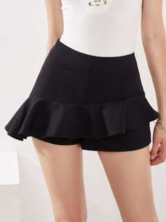 Zip Side Asymmetric Ruffle Skort