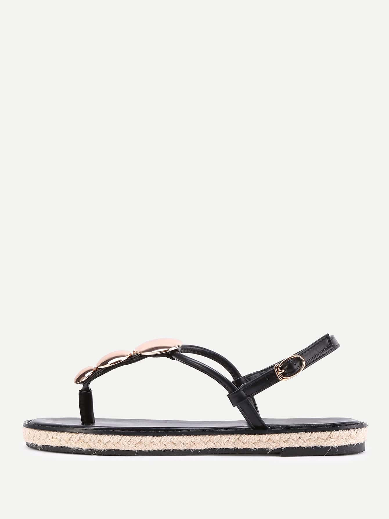 Фото Metal Detail Toe Post Woven Sandals. Купить с доставкой
