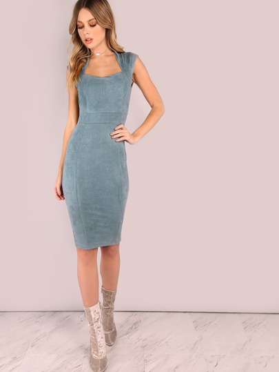 Königin Anne Midi Bodycon Kleid Velousleder-blau grau