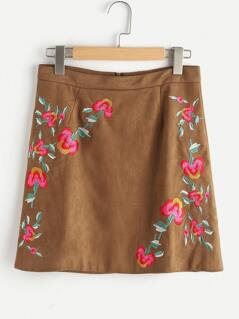 Flower Embroidery Zipper Back Suede Skirt