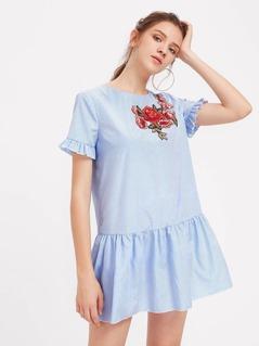 Flower Patch Keyhole Tie Back Smock Dress