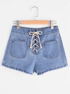 Patch Pocket Front Lace Up Denim Shorts