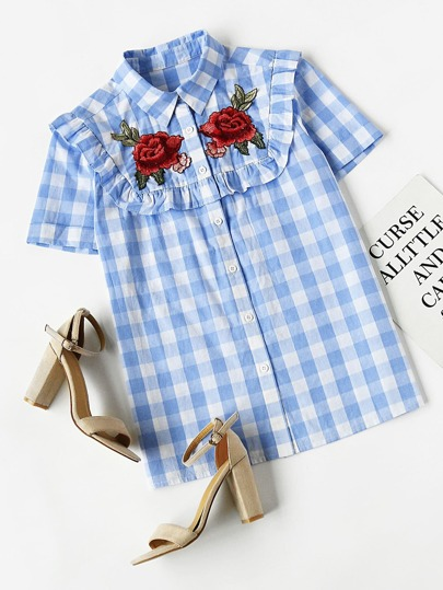 Frill Trim Rose Patch Checkered Blouse