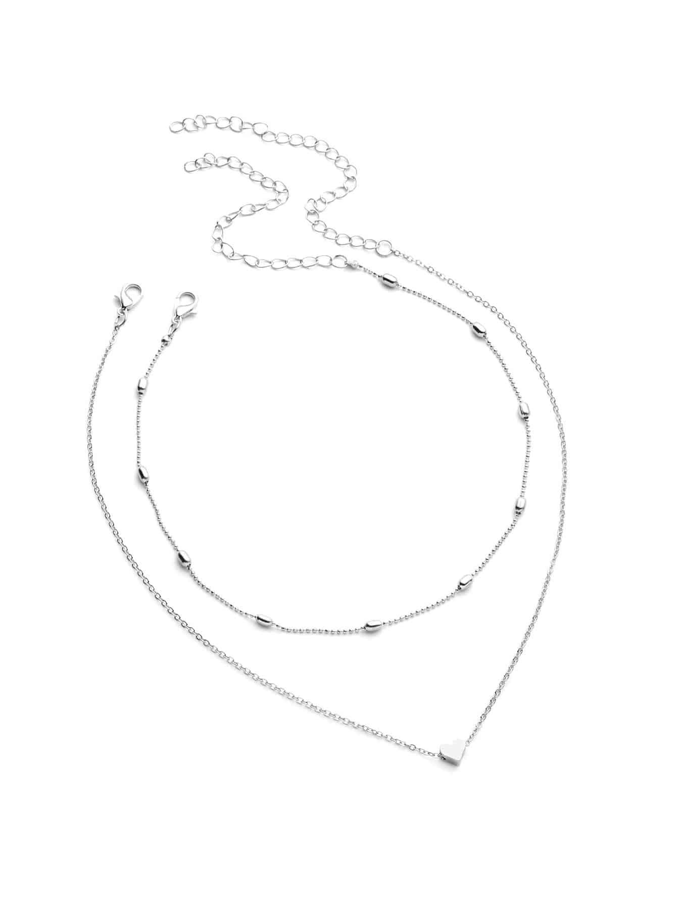 Herz Anhänger Kette Halskette mit Perlen Halsband