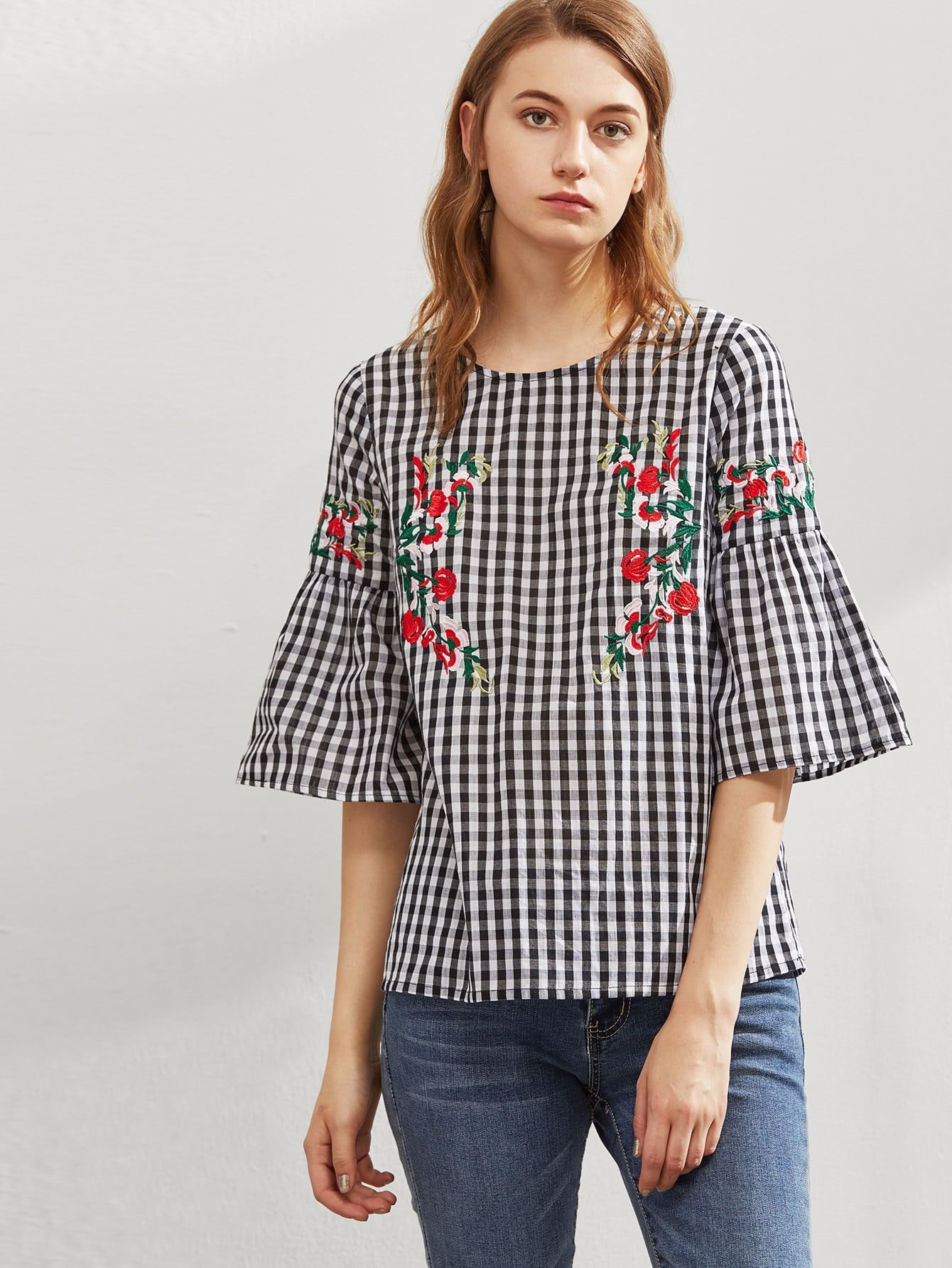 Symmetric Flower Embroidered Fluted Sleeve Checkered Top flower print choker neck fluted sleeve top