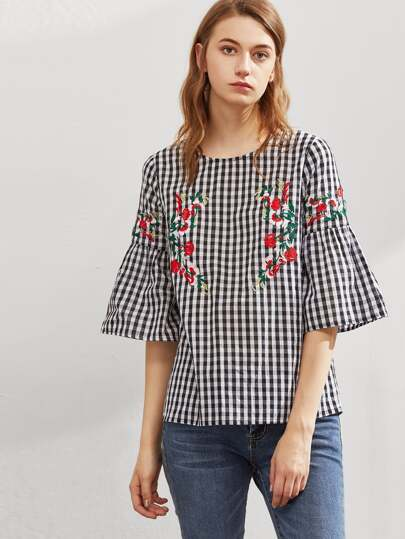 Symmetric Flower Embroidered Fluted Sleeve Checkered Top