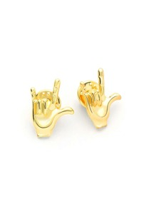 Metal Gesture Brooch Set 2pcs