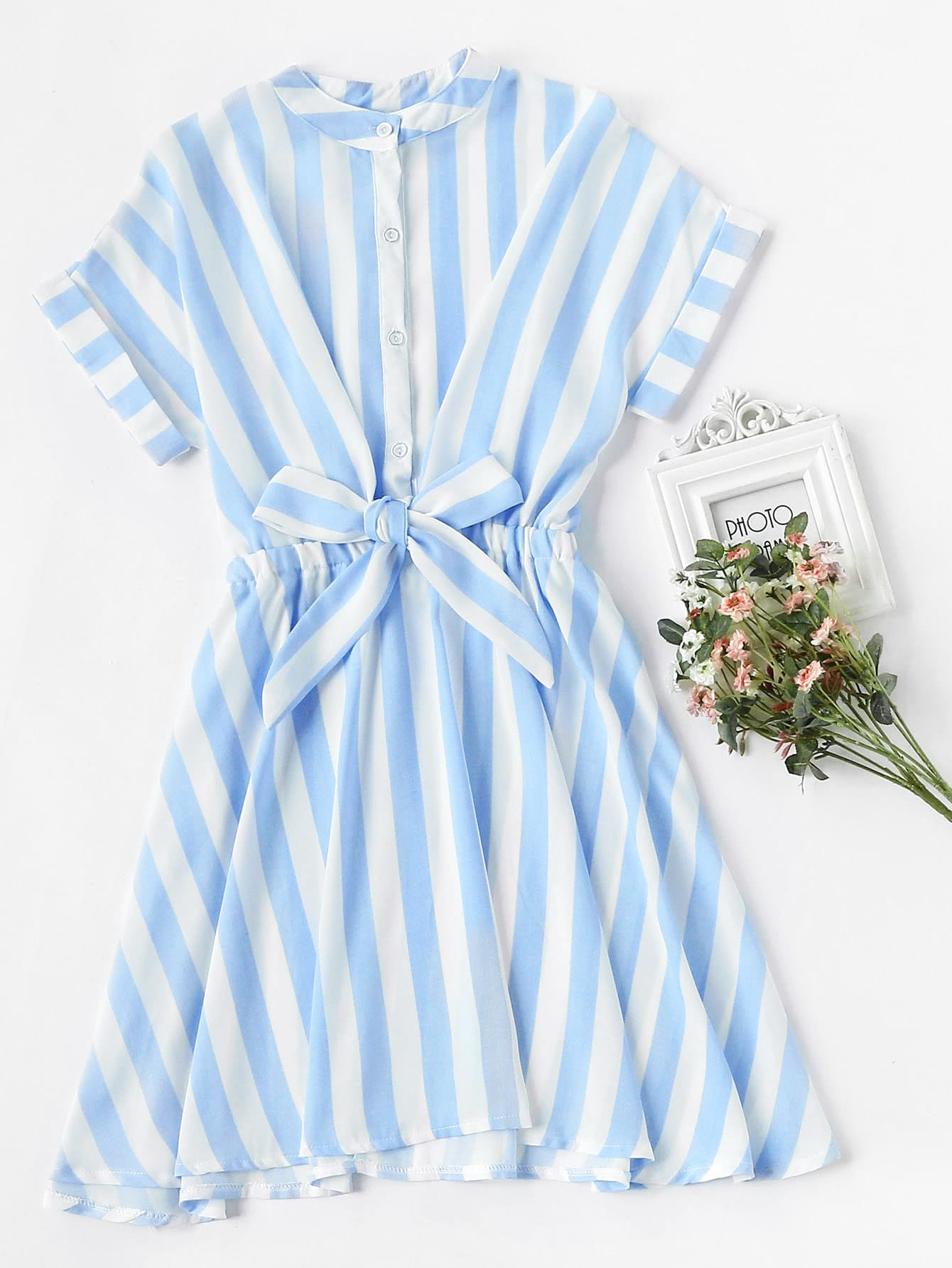 Striped Rolled Sleeve Umbrella Dress