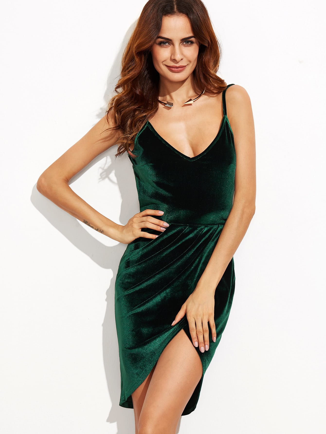 Rüschem Satin Sweatshirt Kleid Rückenfrei -dunkelgrün
