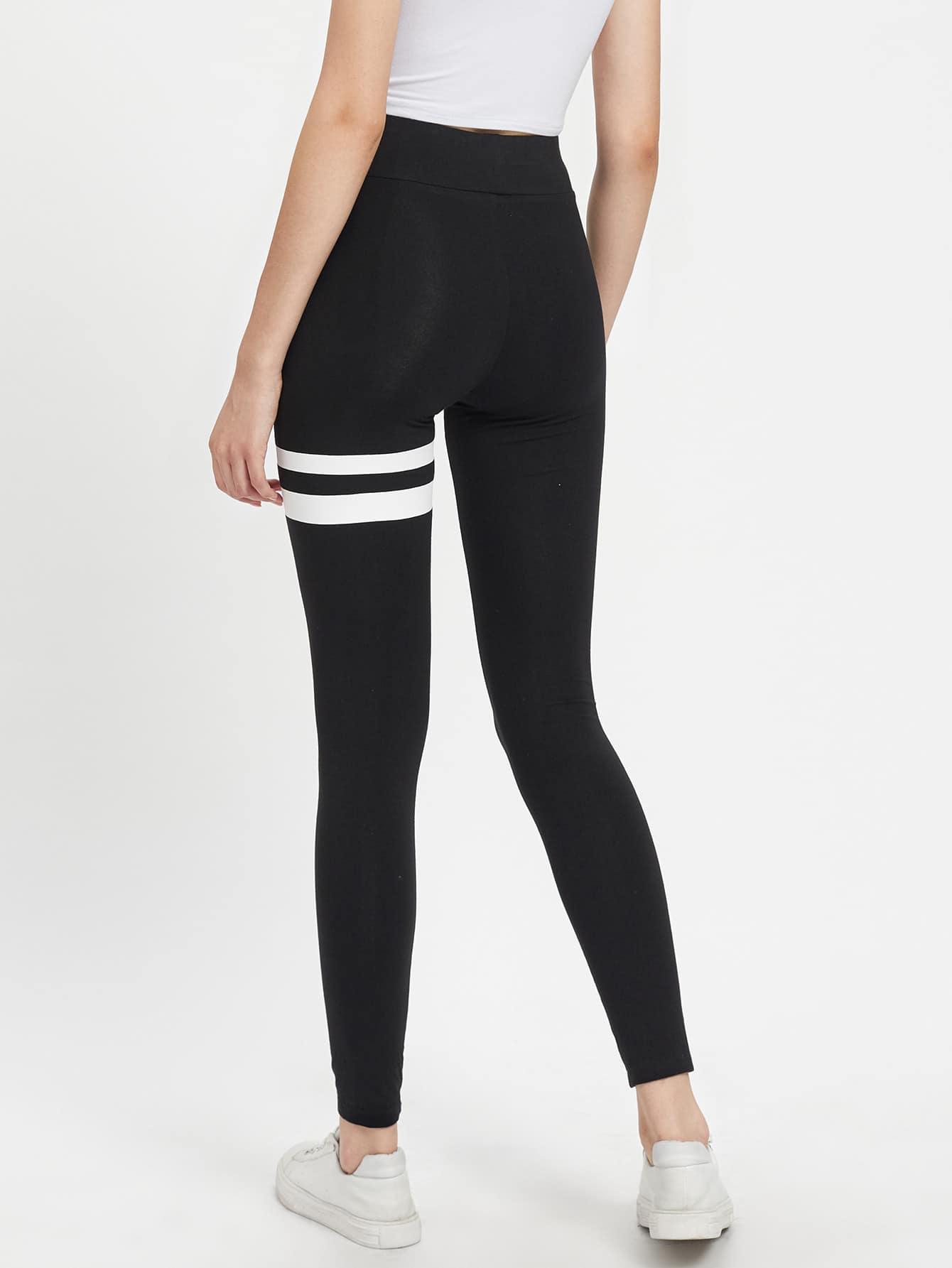 Asymmetric Striped Leggings