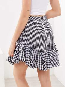 Layered Frill Trim Mixed Gingham Skirt pictures