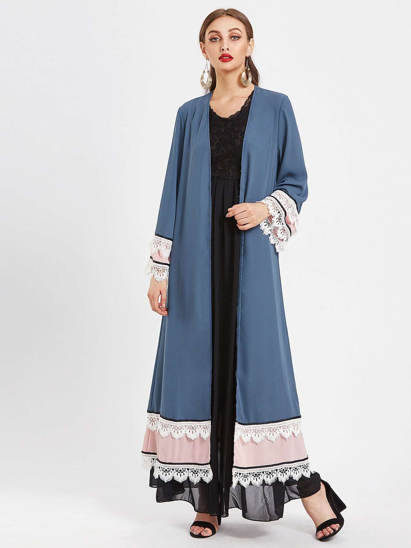 Contrast Tiered Lace Trim Abaya With Hook & Eye