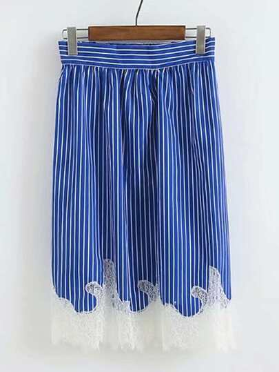 Contrast Lace Vertical Striped Skirt