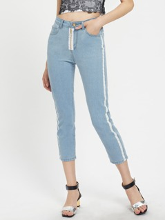 Exposed Zip Fly Striped Side Crop Jeans