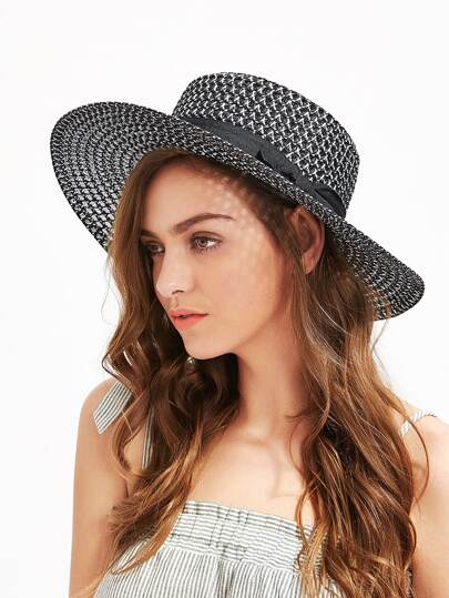 Bow Band Wide Brim Beach Hat