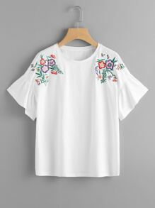 Flower Embroidered Frill Sleeve Tee