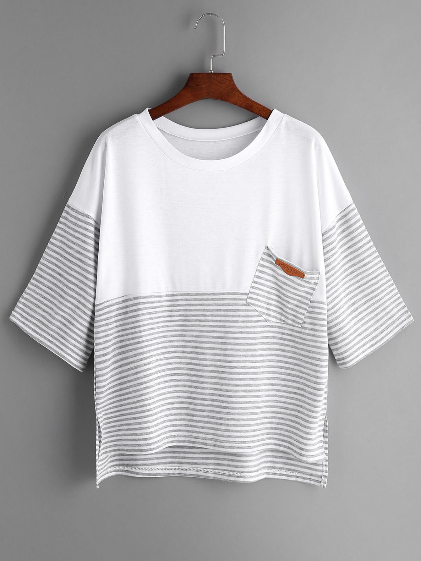 Фото Light Grey Striped Contrast Yoke High Low T-shirt. Купить с доставкой