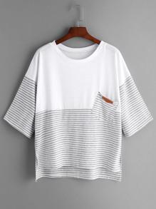 Light Grey Striped Contrast Yoke High Low T-shirt