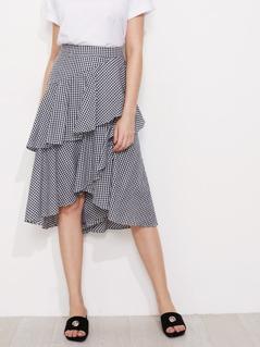 Asymmetric Flounce Trim Gingham Skirt