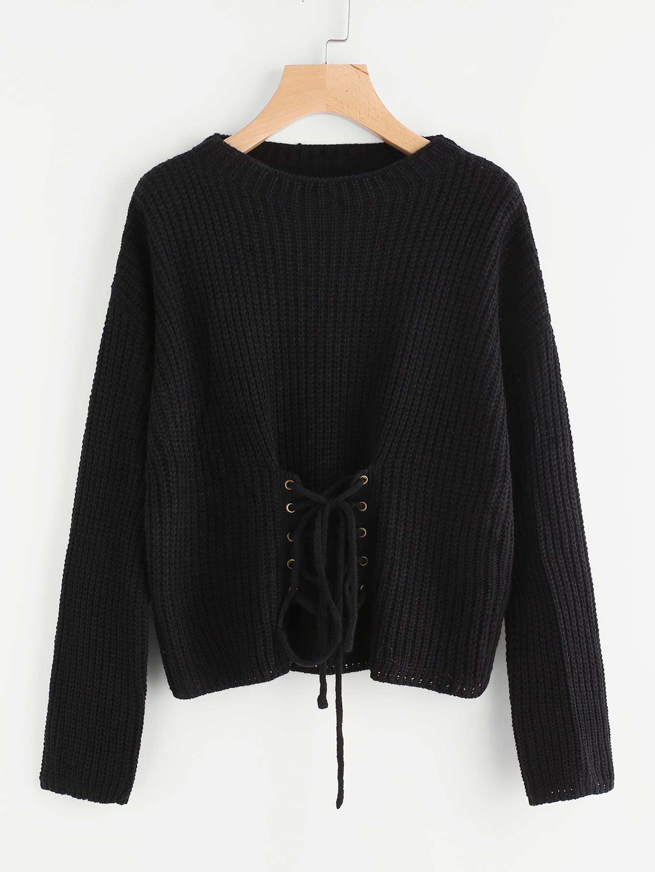Eyelet Lace Up Front Jumper lace up front fit