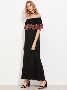 Flounce Layered Embroidered Appliques Dress