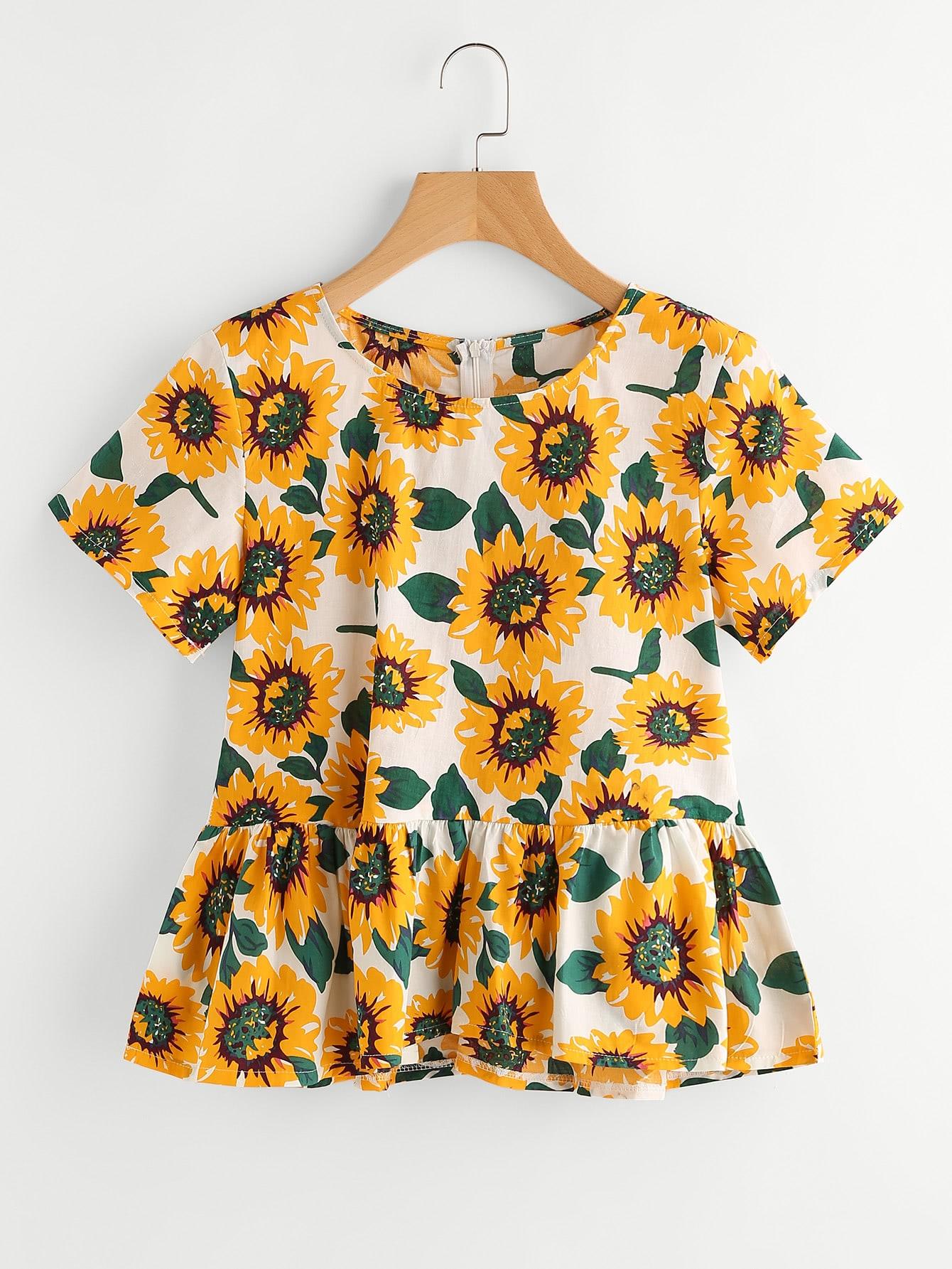 Sunflower Print Random Frill Hem Blouse