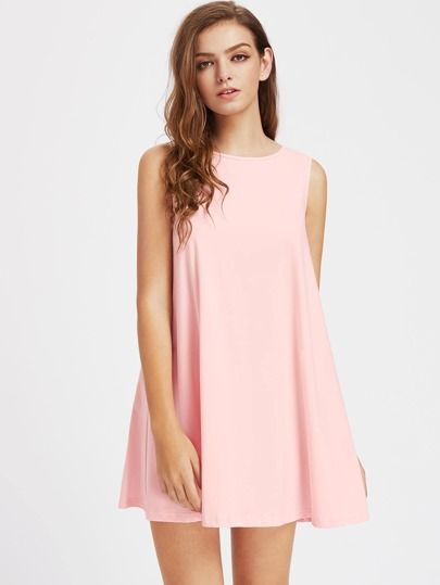 V Notch Tie Back Trapeze Dress