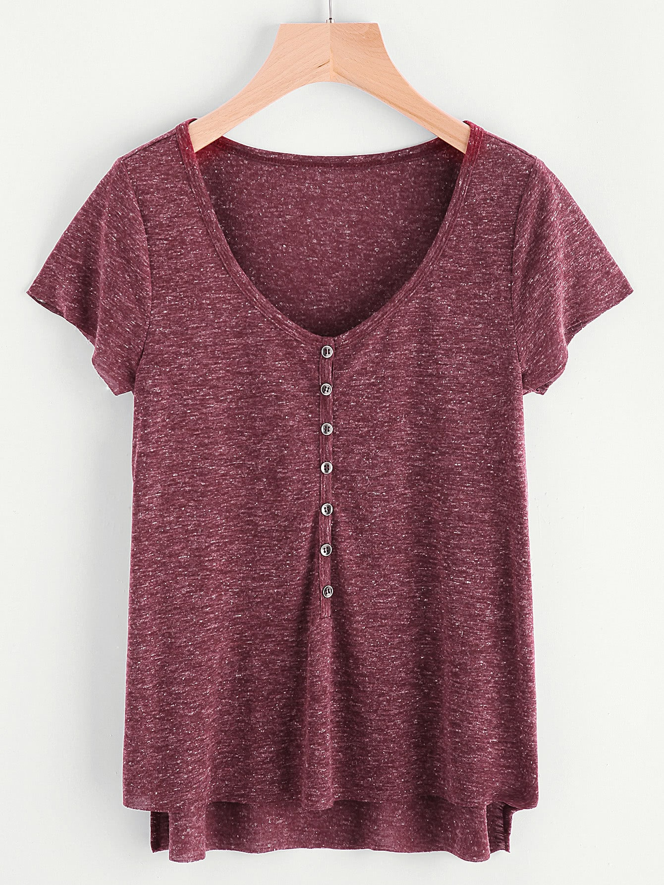 Фото Marled Knit Button Front Staggered Hem T-shirt. Купить с доставкой