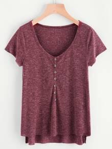 T-Shirt mit Knöpfen vorne