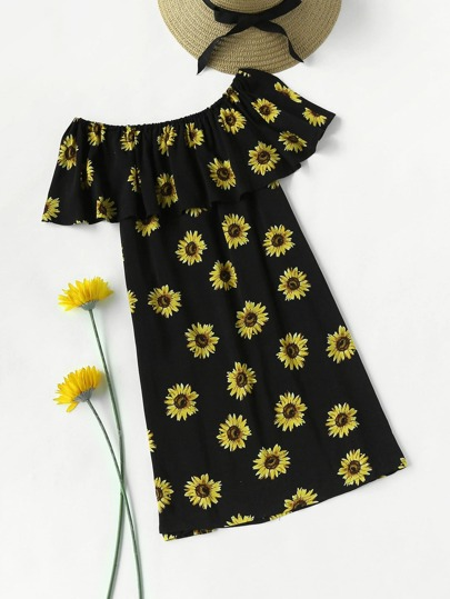 Flounce Layered Neckline Sunflower Print Dress