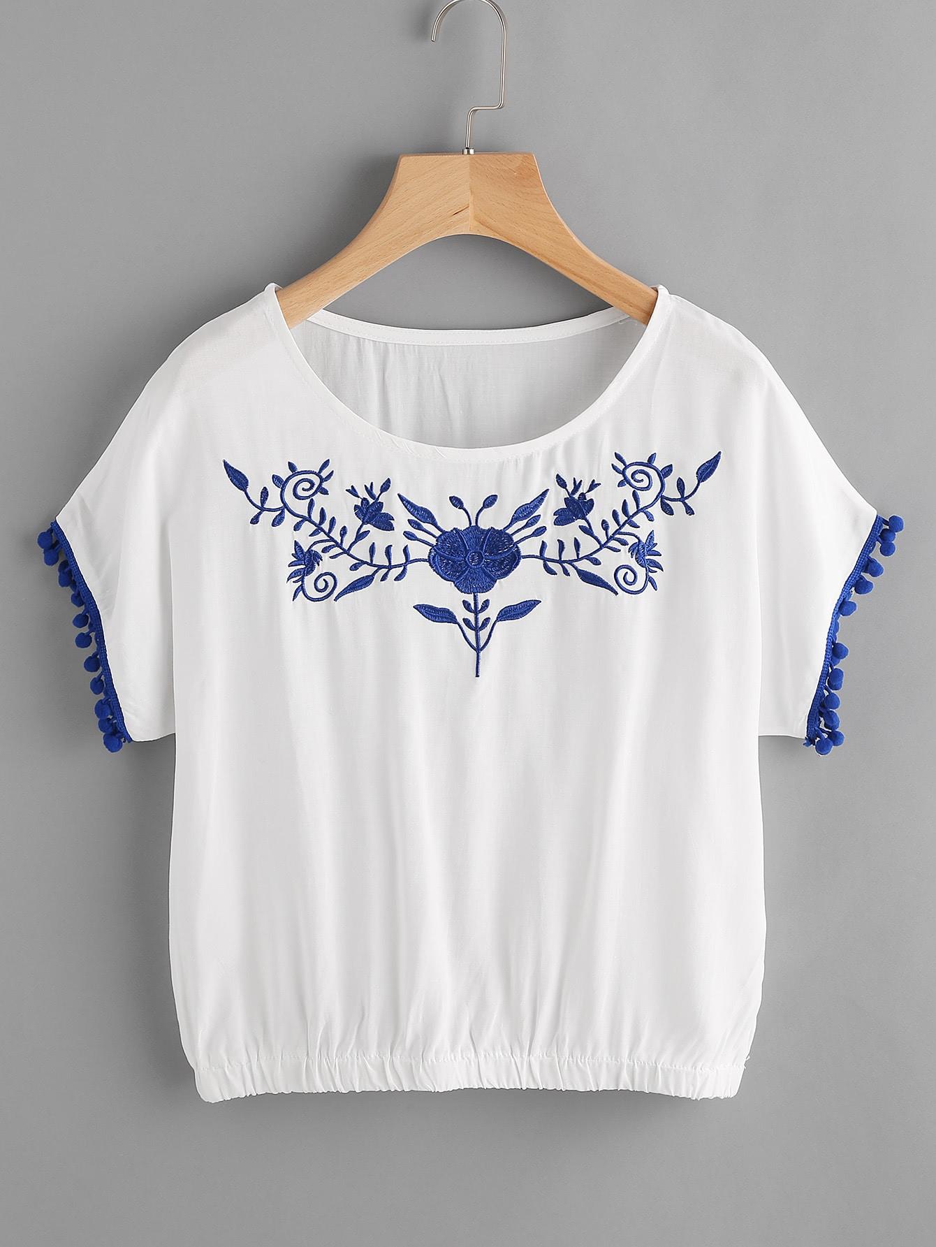 Фото Pom Pom Trim Elasticized Hem Embroidered Blouse. Купить с доставкой