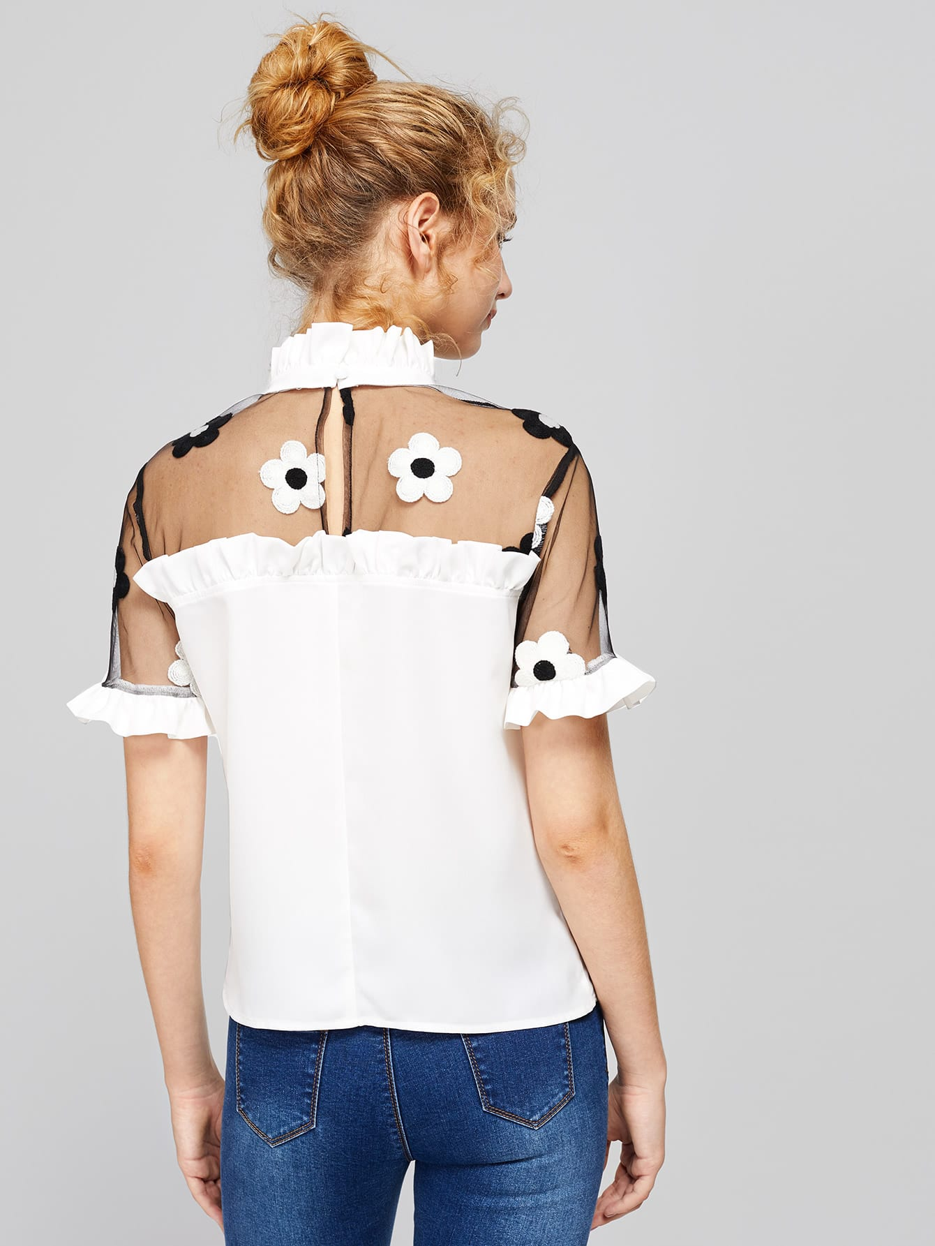 Contrast Embroidered Mesh Shoulder Frilled Top