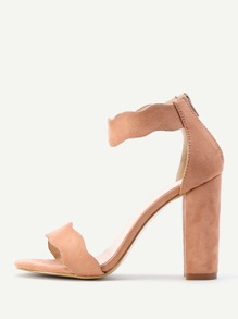 Zipper Back Ankle Strap Block Heeled Sandals