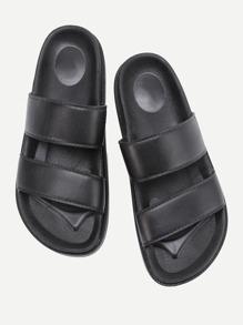 Open Toe PU Flat Slides