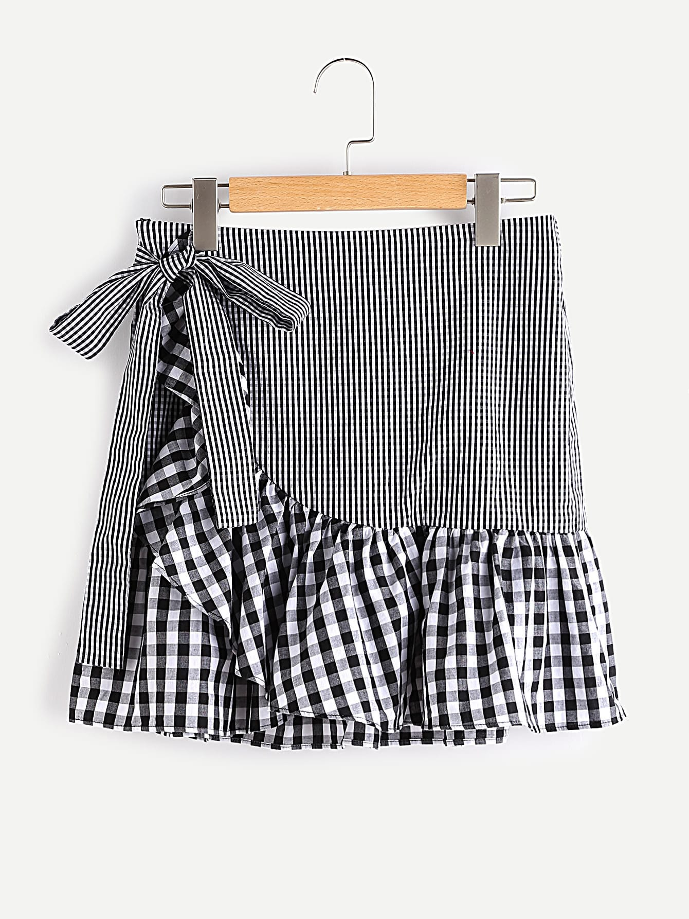 Self Belt Frill Trim Mixed Gingham Wrap Skirt