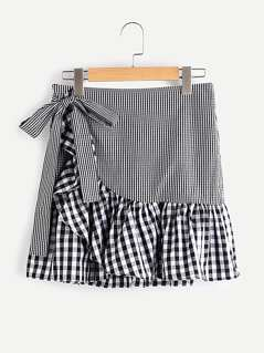 Self Belt Frill Trim Mixed Gingham Wrap Skirt