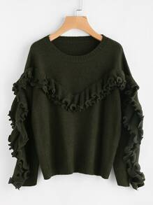 Lettuce Edge Ruffle Trim Jumper