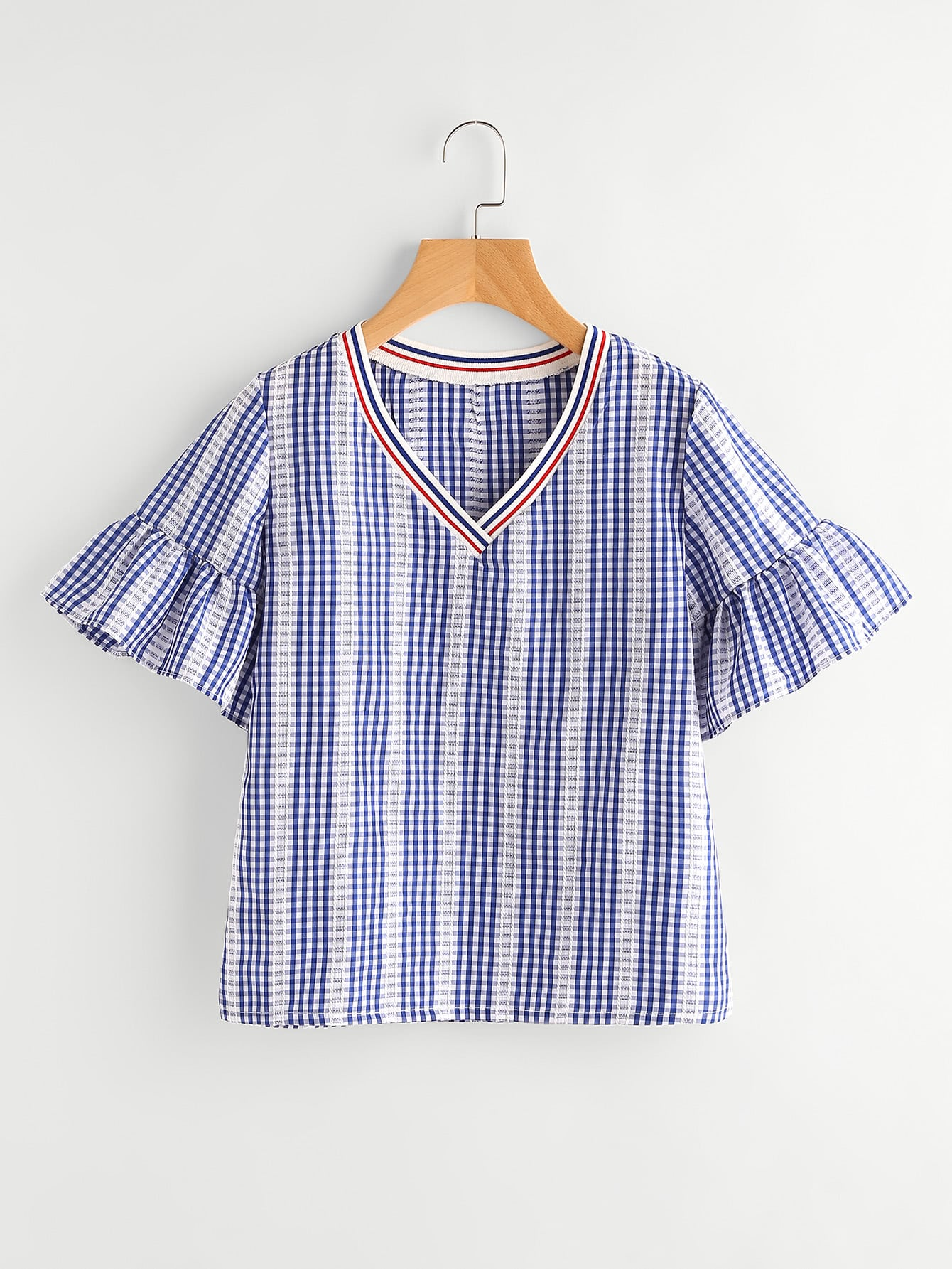 Contrast Striped Trim Frill Cuff Gingham Blouse blouse170630003