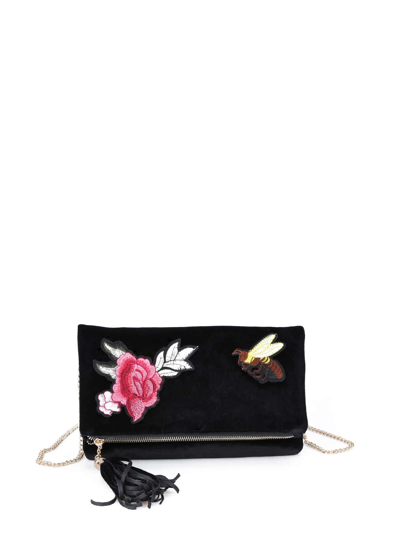 Flower And Bee Embroidery Velvet Crossbody Bag With Tassel