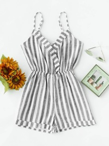 Striped Fold Over Bow Tie V Back Cami Romper